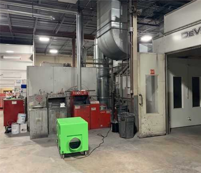 Green SERVPRO equipment in commercial building