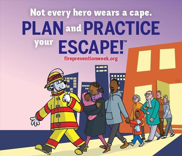"Cartoon Dog leading people out of building. Text that reads ""Not Every Hero Wears a Cape. Plan and Practice Your Escape."""