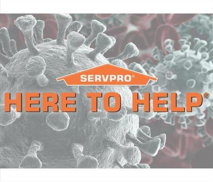 "SERVPRO logo ""Here to Help"" text with COVID-19 background"
