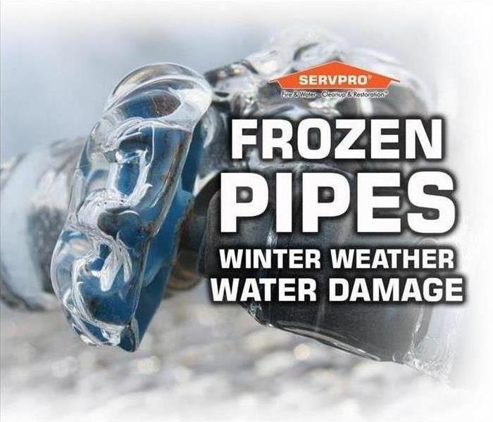 "Frozen Hose Faucet with ""Frozen Pipes Winter Water Damage"" text"