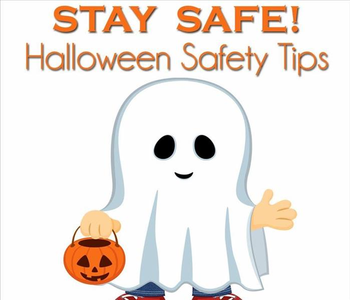 "Ghost Halloween Costume with text that says ""Stay Safe. Halloween Safety Tips"""