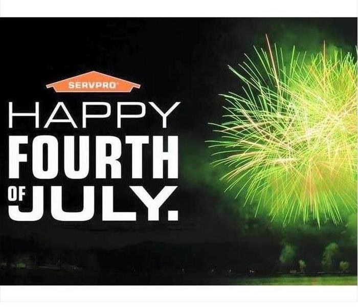 Green fireworks and orange SERVPRO logo with Happy 4th of July text